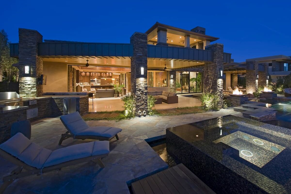 Exterior of contemporary house with plunge pool at dusk - Plunge Pools guide