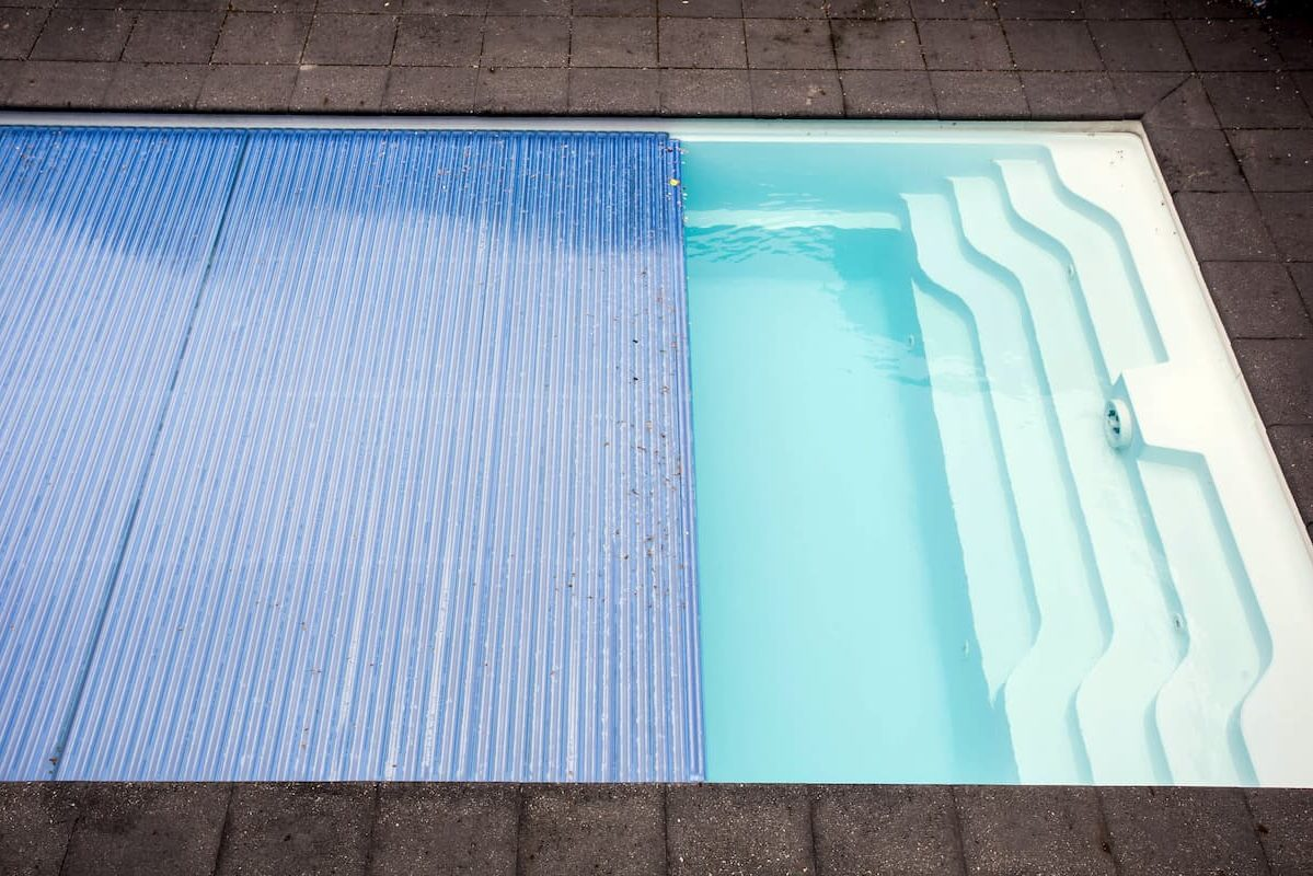 Swimming pool cover detail for protection and heat the water, pool roller-shutter covers
